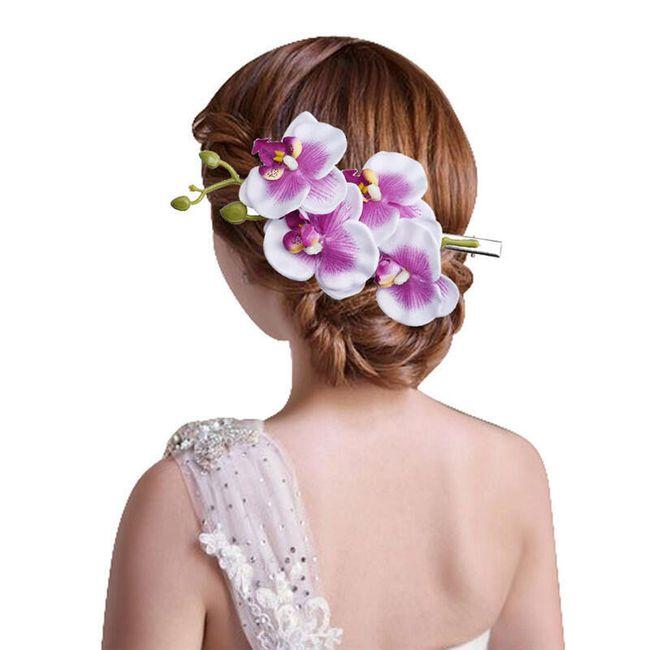 Květinová spona s orchideí do vlasů - různé barvy 1