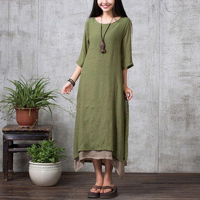 Dámské bavlněné maxi šaty v nadměrných velikostech - Zelená, velikost 4 1