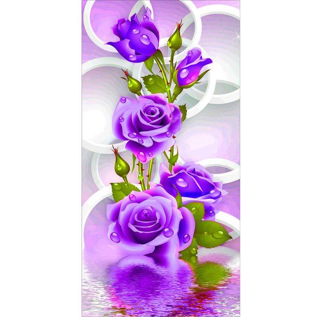 DIY slika od kamenčića - ljubičasta ruža 1