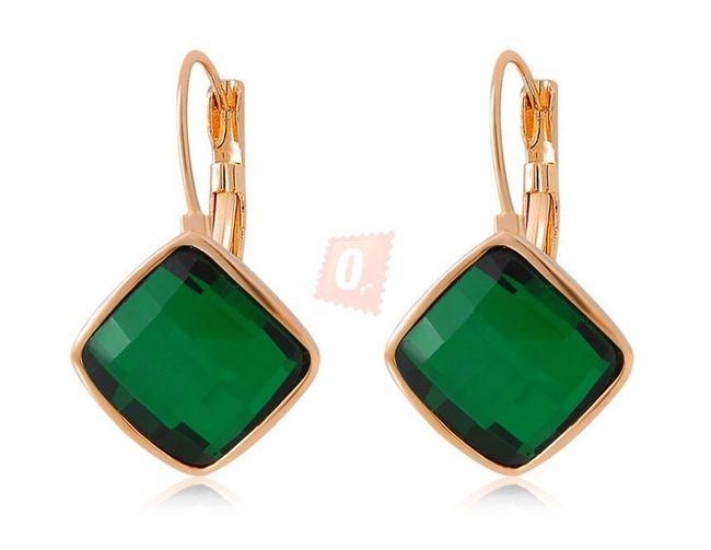 Piękne nowoczesne kolczyki - zielone 1