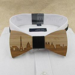 Férfi számara  fából készült csokornyakkendő városi motívumokkal - 10 változat