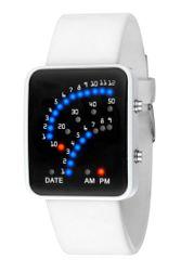 Moška binarna ura s silikonskim paščkom - 2 barvi Bela