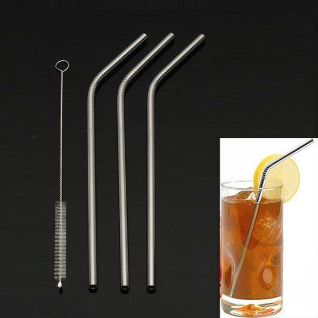 Нержавеющие соломинки с щеткой для чистки- 3 шт. 1