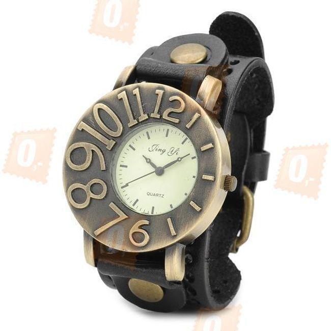 Retro zegarek z wyraźną tarczą i skórzanym paskiem 1