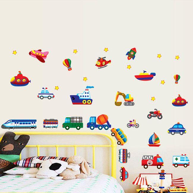 Otroška 3D nalepka za stene - vozila 1
