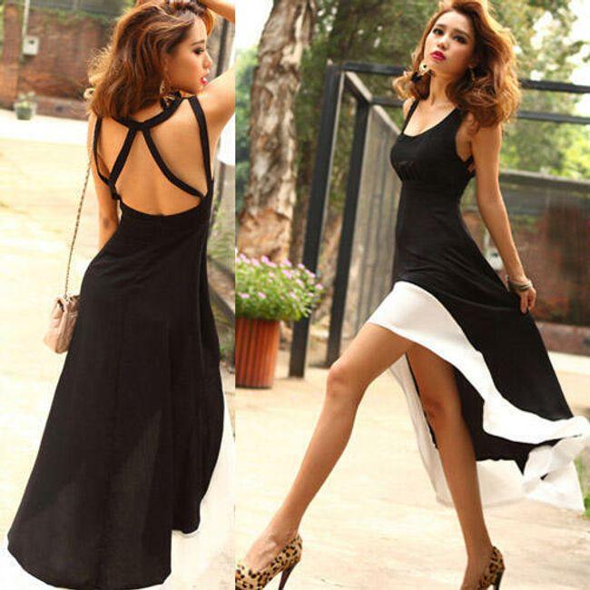 Damska sukienka z odkrytymi plecami - wykonanie czarno-białe 1
