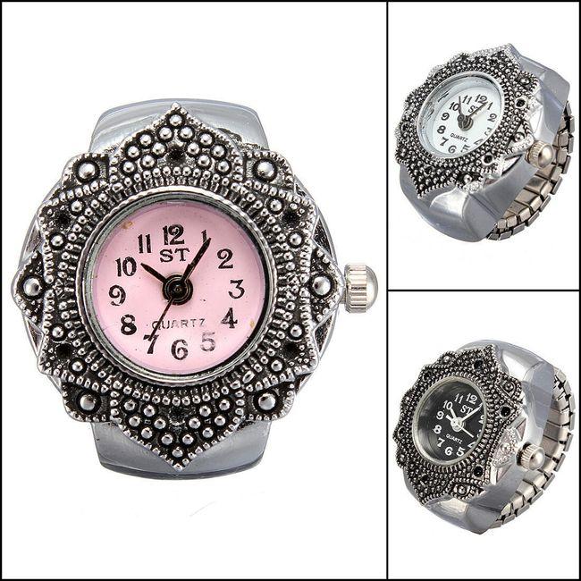 Prstýnkové hodinky s originálním lemováním ciferníku 1