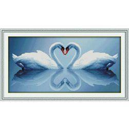 DIY картина для вышивки-  Лебеди