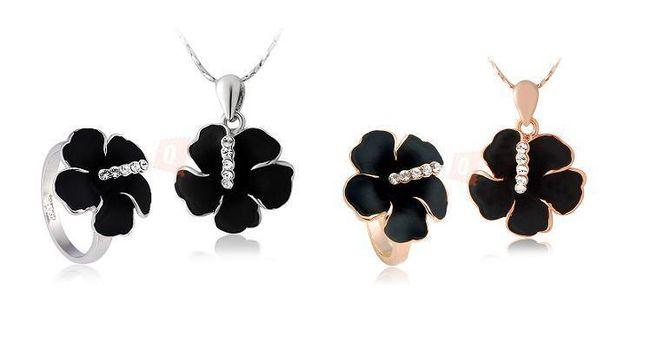 Elegantní set - náhrdelník a prsten s motivem květiny 1