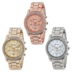 Метален дамски часовник с декорация от стъклени кръстали