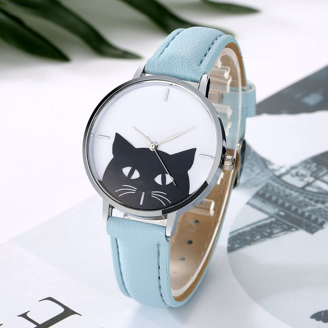 Ženska ura s črno mačko - 6 barv 1