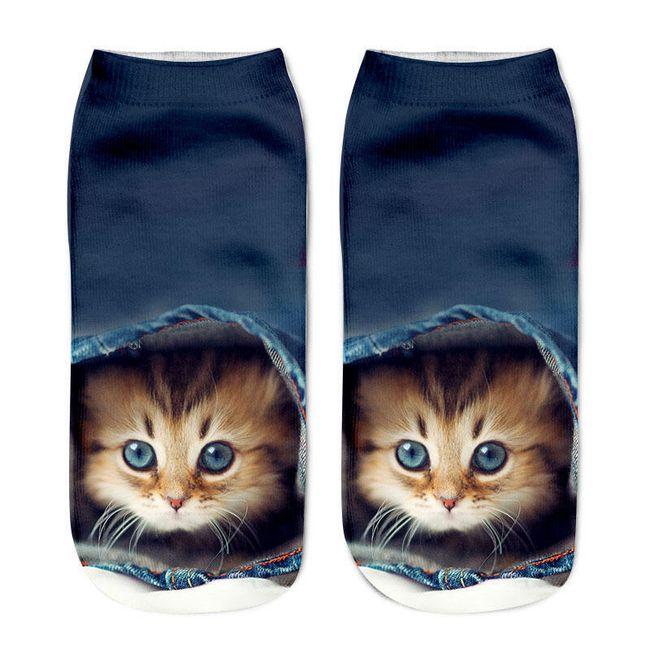Ženske nogavičke z motivom mačk 1