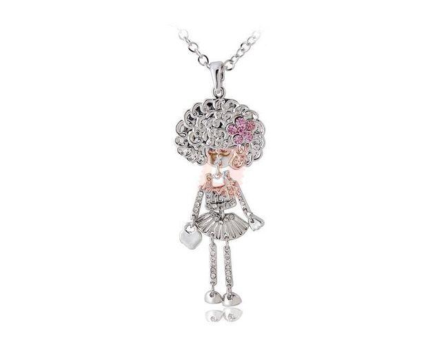 Náhrdelník s přívěškem holčičky - stříbrná barva 1