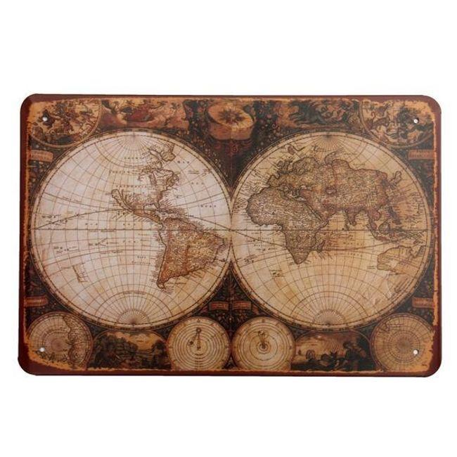 Retro kovinski znak - zemljevid starodavnega sveta 1