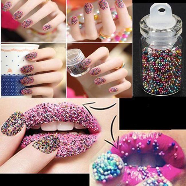 12 buteleczek kolorowych dekoracyjnych kuleczek na paznokcie 1