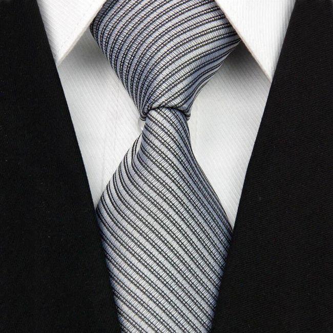 Pruhovaná pánská kravata do společnosti - 11 barev 1