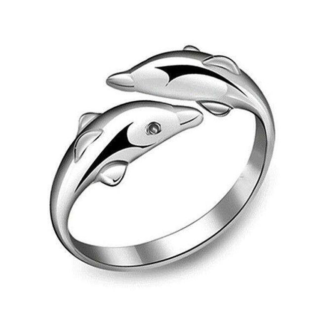 Nastavljiv prstan v obliki delfinov 1