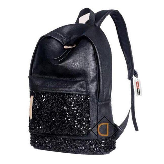 Krásný koženkový batoh s flitrovou látkou 1