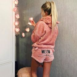 Hanorac din pluș de damă cu pantaloni scurți - 15 variante Roz-mărimea 5