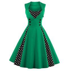 Retro šaty s puntíky - mix barev Zelená L