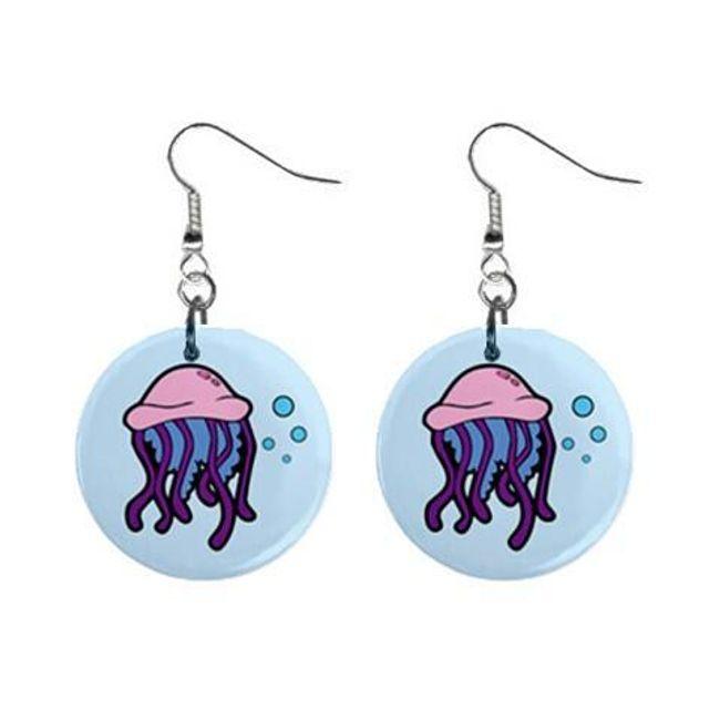 Круглые плоские серьги- Медуза 1
