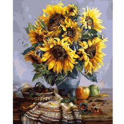 Nedokončana slika brez okvirja 40 x 50 cm - Vaza s sončnicami