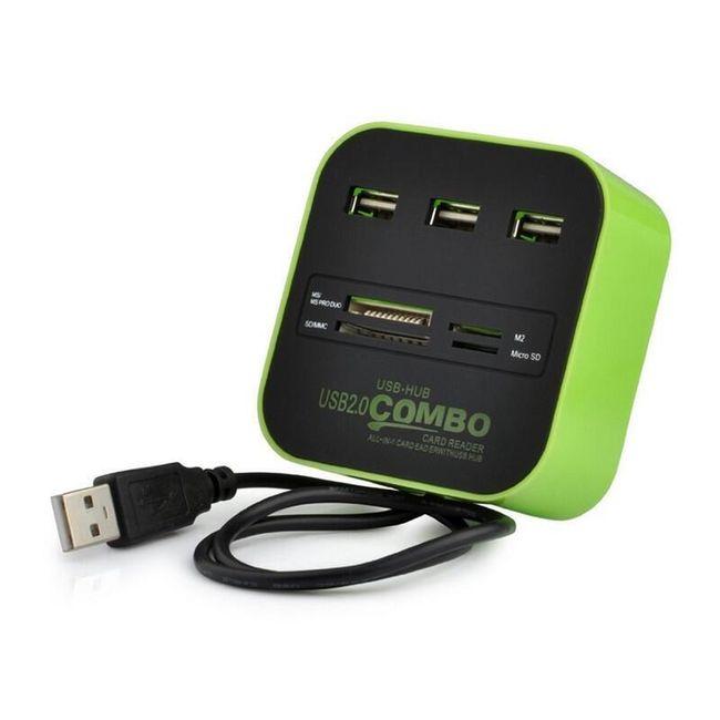 Brzi USB hub i čitač memorijskih kartica - 4 boje 1