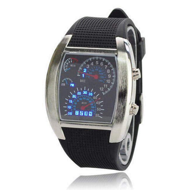 Męski LED zegarek z oryginalną tarczą 1