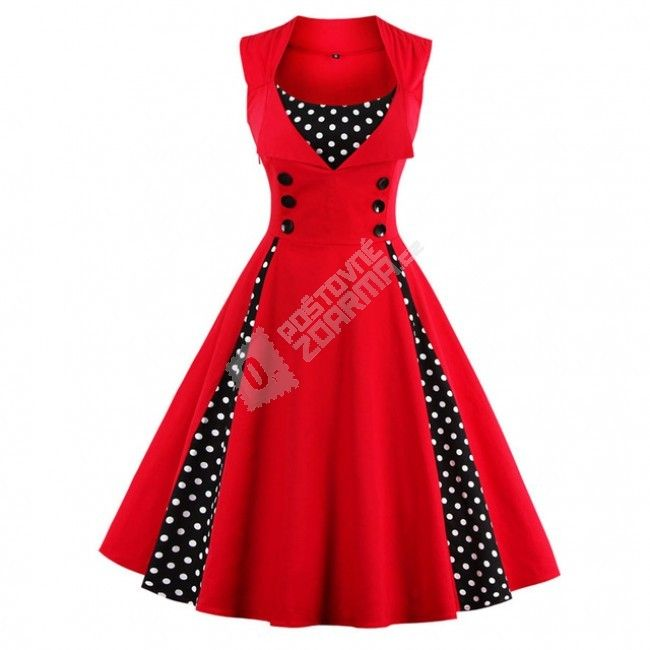 Retro šaty s puntíky - Červená M 1