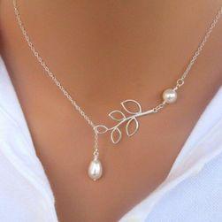 İnci ve dal tasarım gümüş kolye