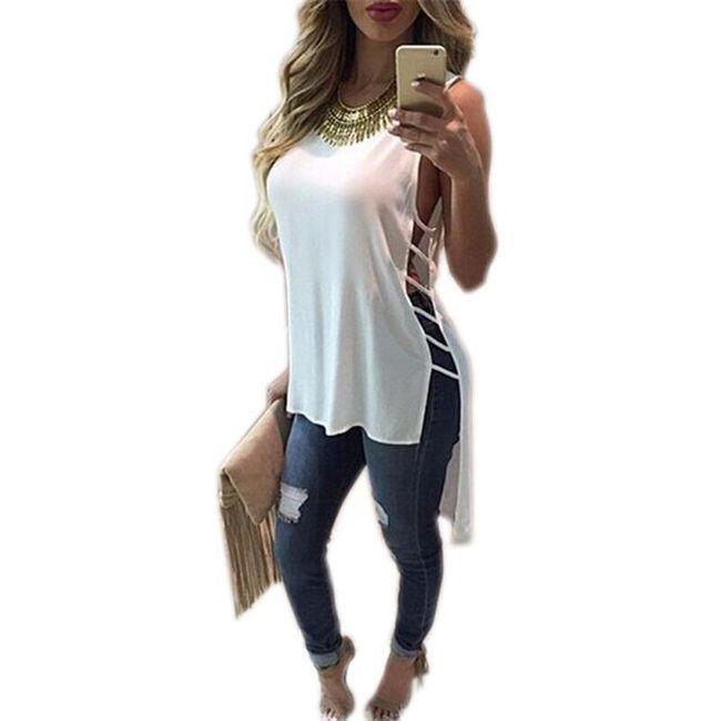 Dámské rozevláté tričko s rozparky - Bílá, velikost 5 1