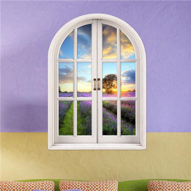 3D-s falimatrica - ablak levendula mezővel 1