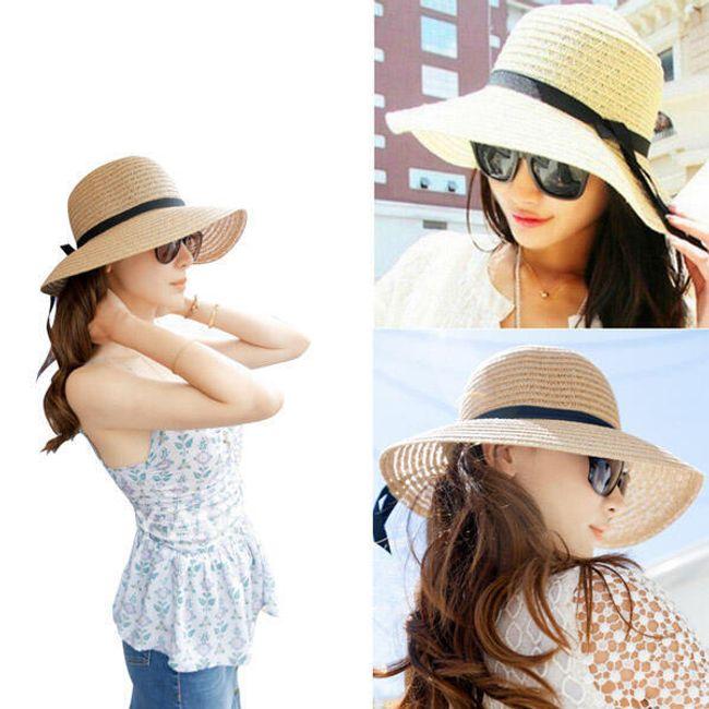 Dámský slaměný klobouk ve dvou barvách - Béžová 1