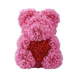 Medvídek z umělých růží LM325