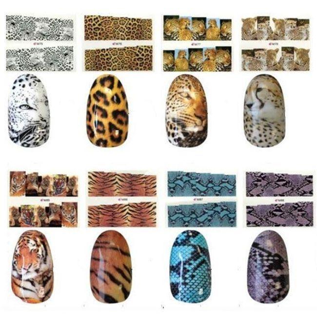 Naklejki na paznokcie z nadrukiem tygrysa i węża 1