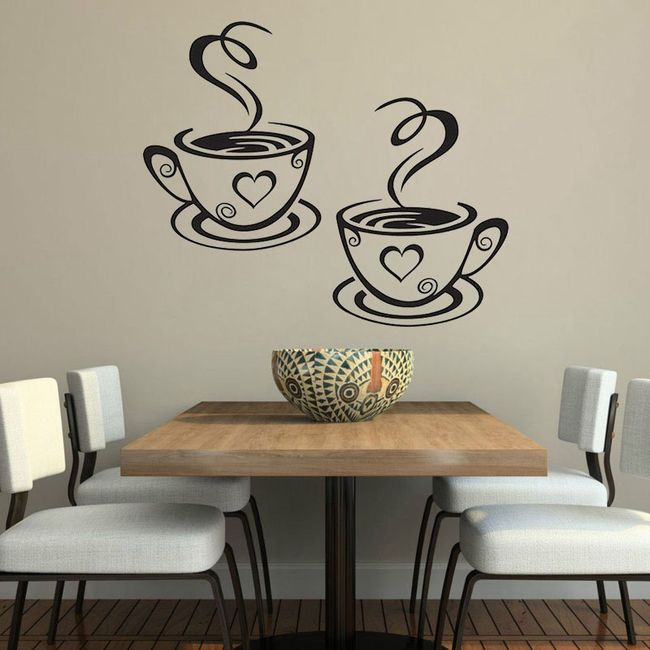 Стикер за стена - чаши за кафе 1