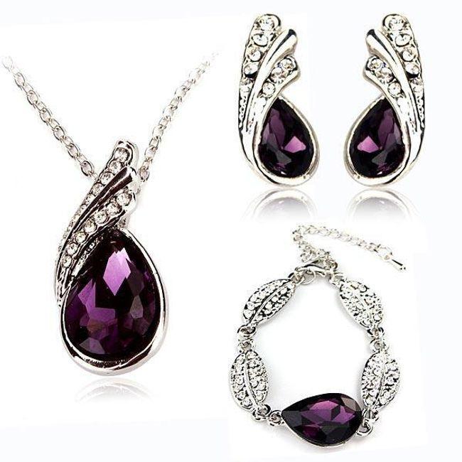 Komplet biżuteryjny  - kolor - ciemnofioletowy 1