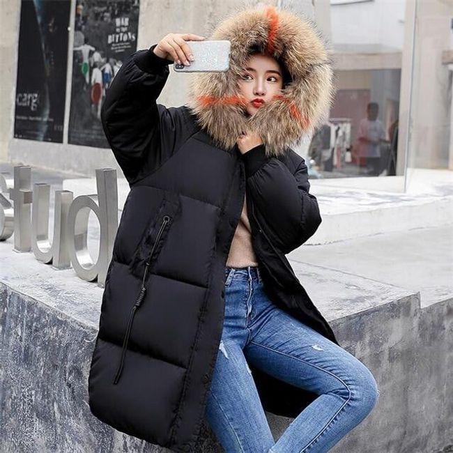Dlouhá dámská bunda Ruby - Černá-velikost č. 3 1