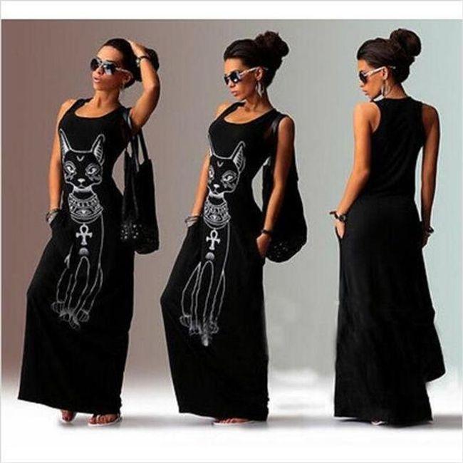 Plážové maxi šaty s motivem kočky - černé, vel. 3 1
