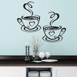 Наклейка на стену - кофейные чашки