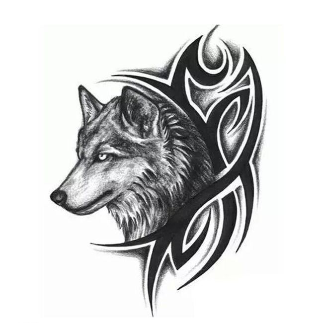 Začasna tetovaža - tribal z volkom 1