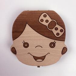 Drewniane pudełko na ząbki dziecka z polskimi napisami - wyprodukowano w EU