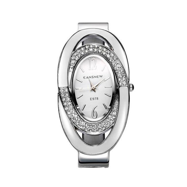 Ceas metalic pentru femei cu cadran oval și pietre 1