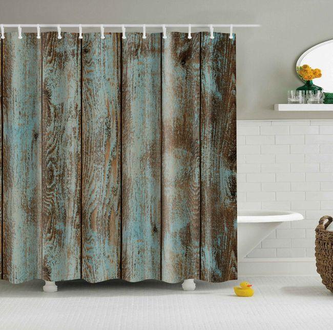 Sprchový závěs 180 x 180 cm - Imitace starého dřeva 1