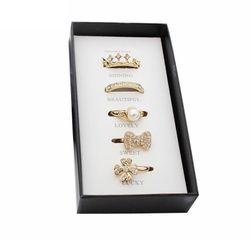 Sada 5 krásných prstýnků ve zlaté barvě