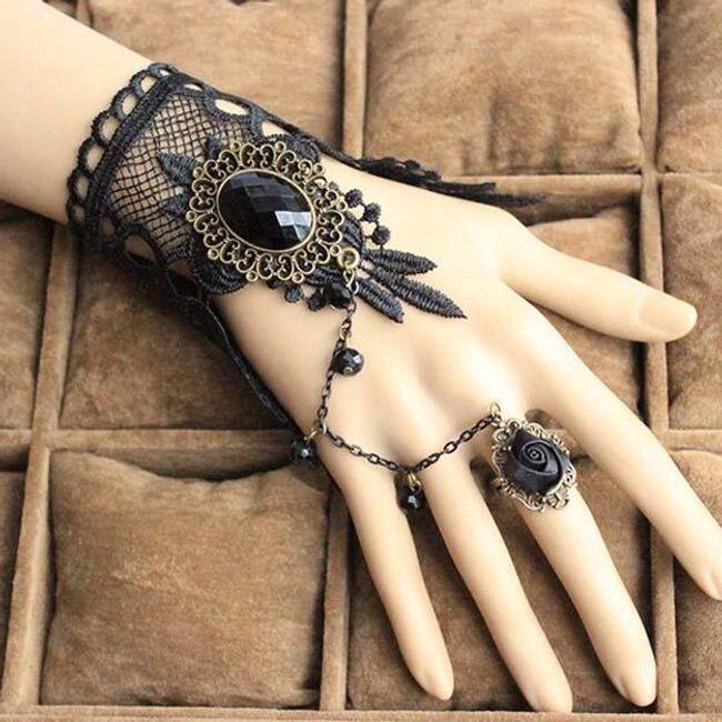 Чёрный выразительный браслет с кольцом в одном - чёрная роза 1