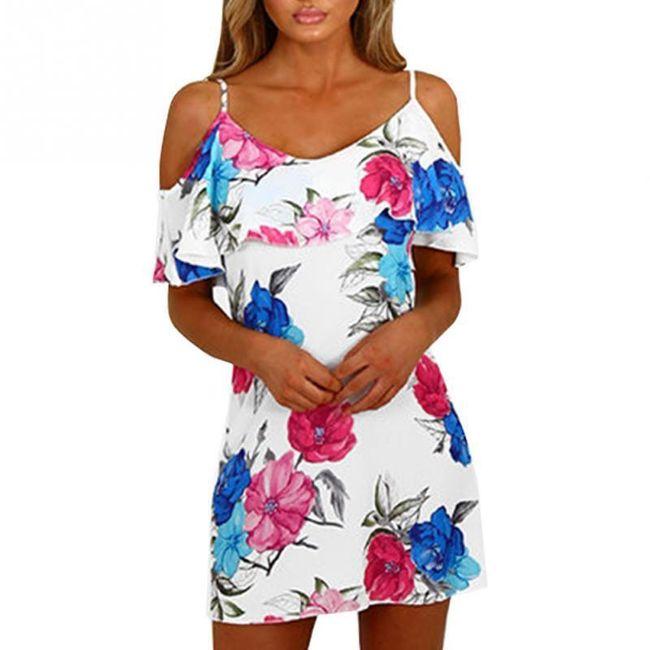 Letnja haljina sa cvetovima i volanima 1