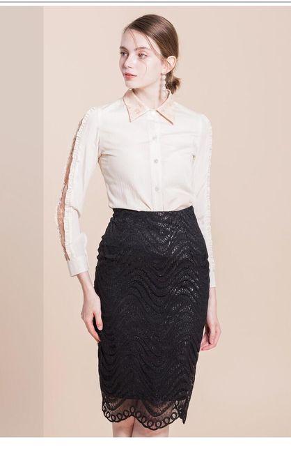 Dámská sukně s vysokým pasem a krajkou - černá 1