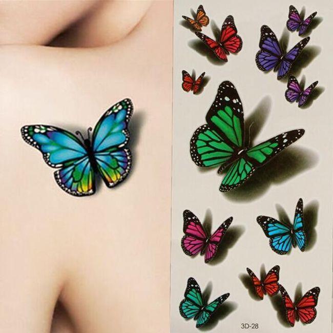 Tatuaj 3D provizoriu sub formă de fluturi 1