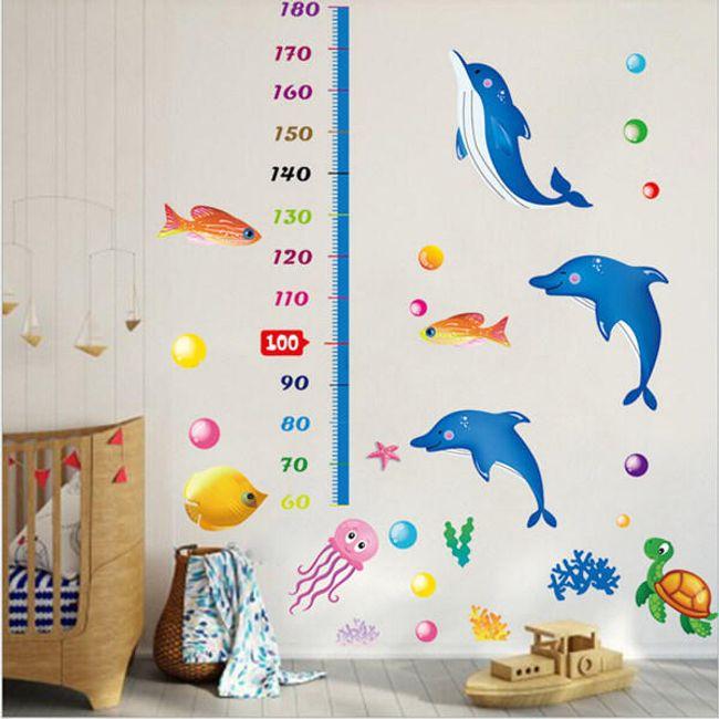 Gyerek magasságmérő matrica  - tengeri világ 1